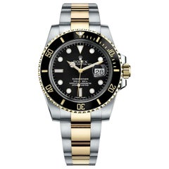 Rolex Submariner Two-Tone Gold Black Dial Stainless Steel Oyster Watch 116613LN