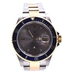 Rolex Submariner Two-Tone Serti Dial Watch Ref 16613