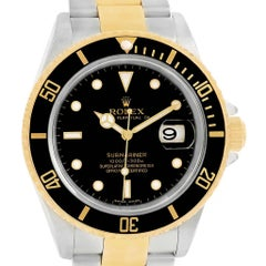 Rolex Submariner Two-Tone Steel Yellow Gold Black Dial Watch 16613