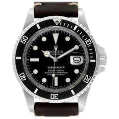 Rolex Submariner Vintage Brown Strap Steel Men's Watch 1680