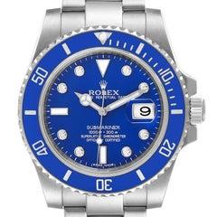 Rolex Submariner White Gold Blue Dial Ceramic Bezel Diamond Watch 116619