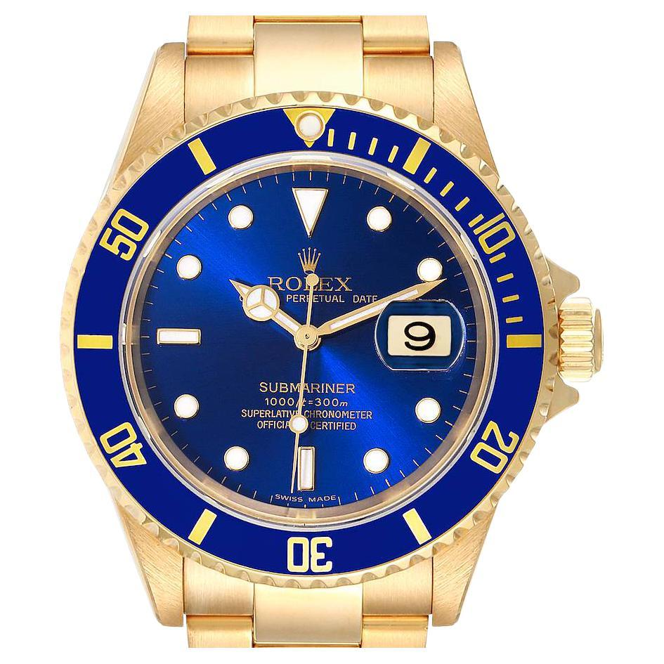Rolex Submariner Yellow Gold Blue Dial Mens Watch 16618 Box Papers