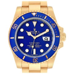 Rolex Submariner Yellow Gold Blue Dial Ceramic Bezel Men's Watch 116618