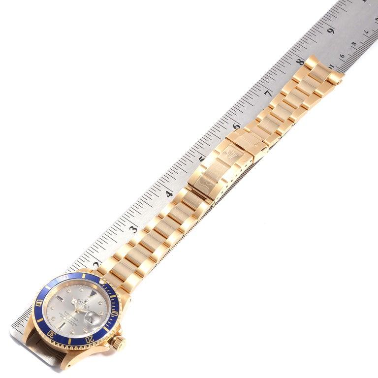 Rolex Submariner Yellow Gold Diamond Sapphire Serti Dial Watch 16618 For Sale 6