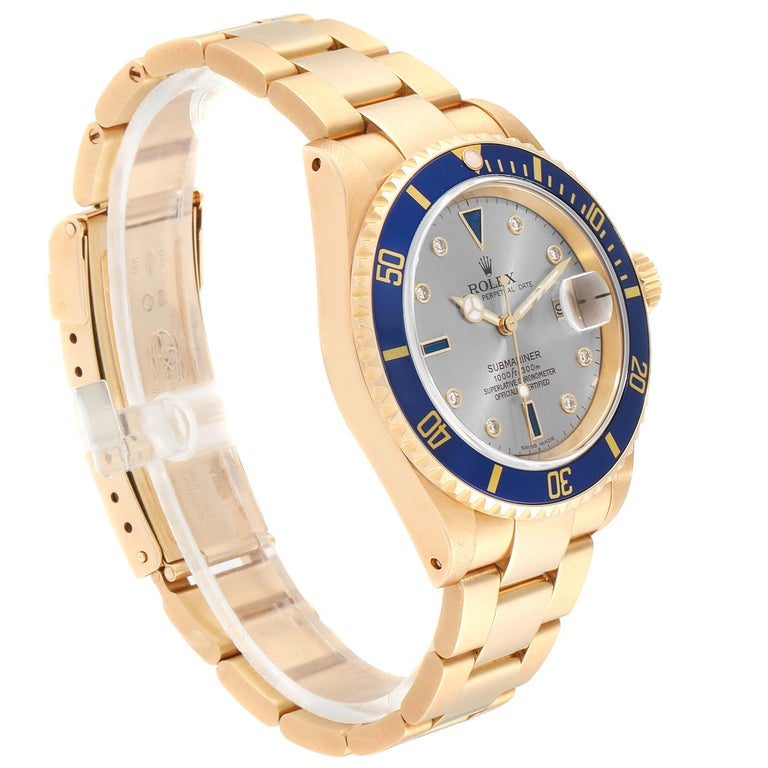 Men's Rolex Submariner Yellow Gold Diamond Sapphire Serti Dial Watch 16618 For Sale