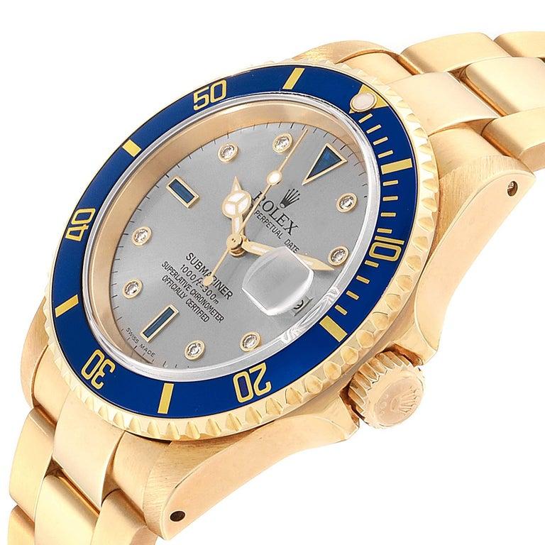Rolex Submariner Yellow Gold Diamond Sapphire Serti Dial Watch 16618 For Sale 1