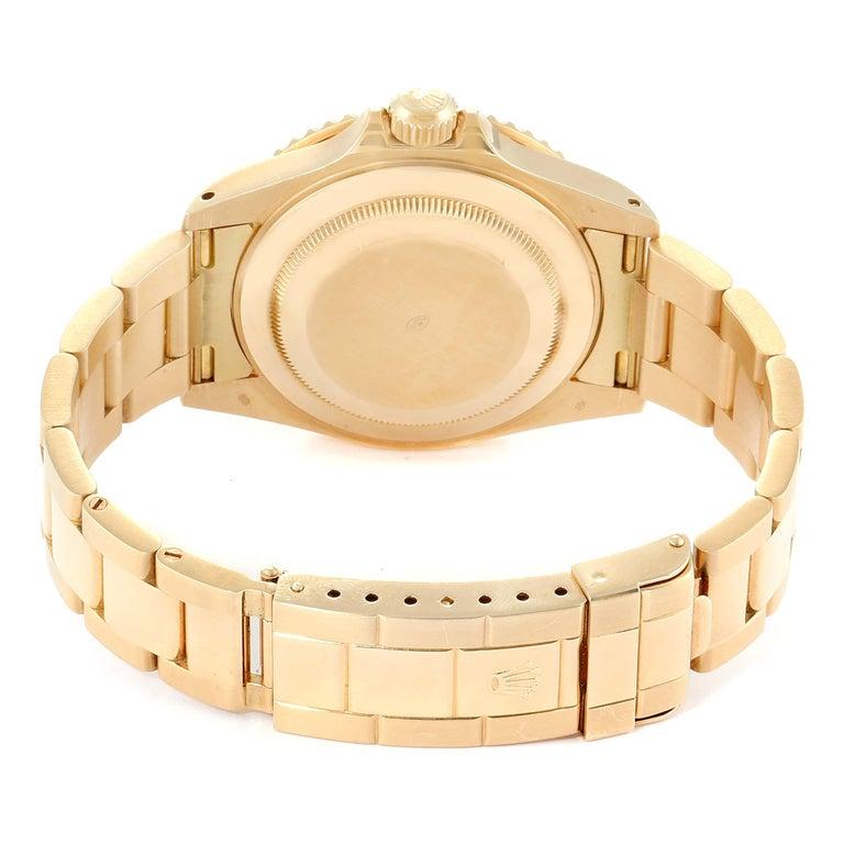 Rolex Submariner Yellow Gold Diamond Sapphire Serti Dial Watch 16618 For Sale 2