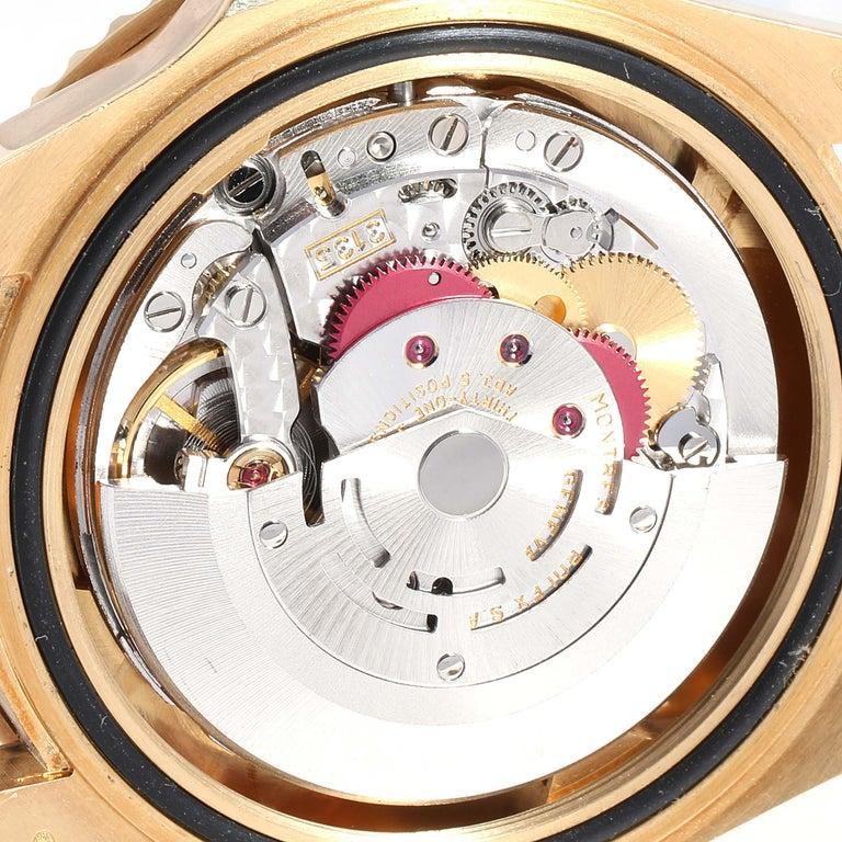 Rolex Submariner Yellow Gold Diamond Sapphire Serti Dial Watch 16618 For Sale 3
