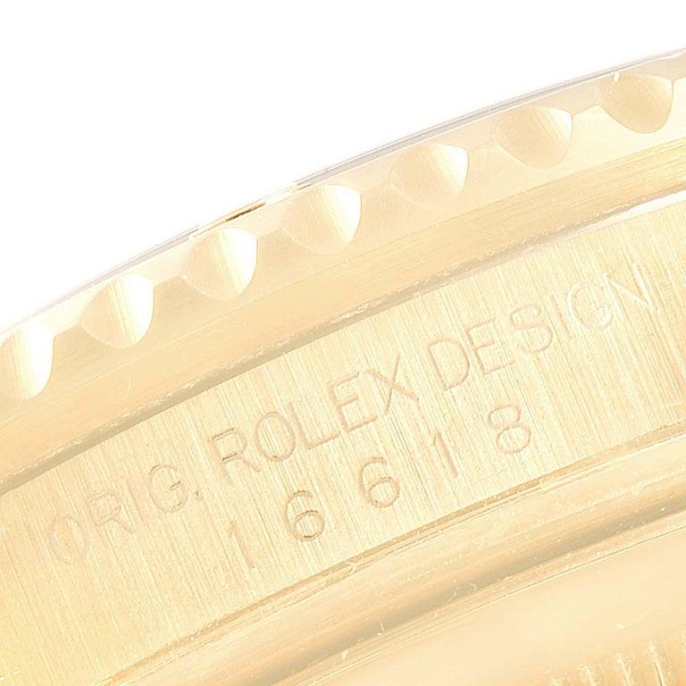 Rolex Submariner Yellow Gold Diamond Sapphire Serti Dial Watch 16618 For Sale 4