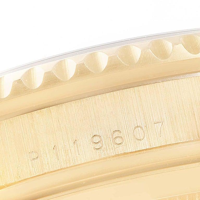 Rolex Submariner Yellow Gold Diamond Sapphire Serti Dial Watch 16618 For Sale 5