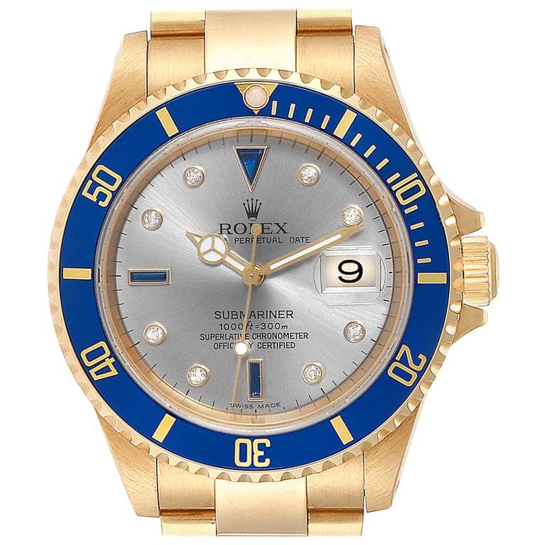 Rolex Submariner Yellow Gold Diamond Sapphire Serti Dial Watch 16618 For Sale
