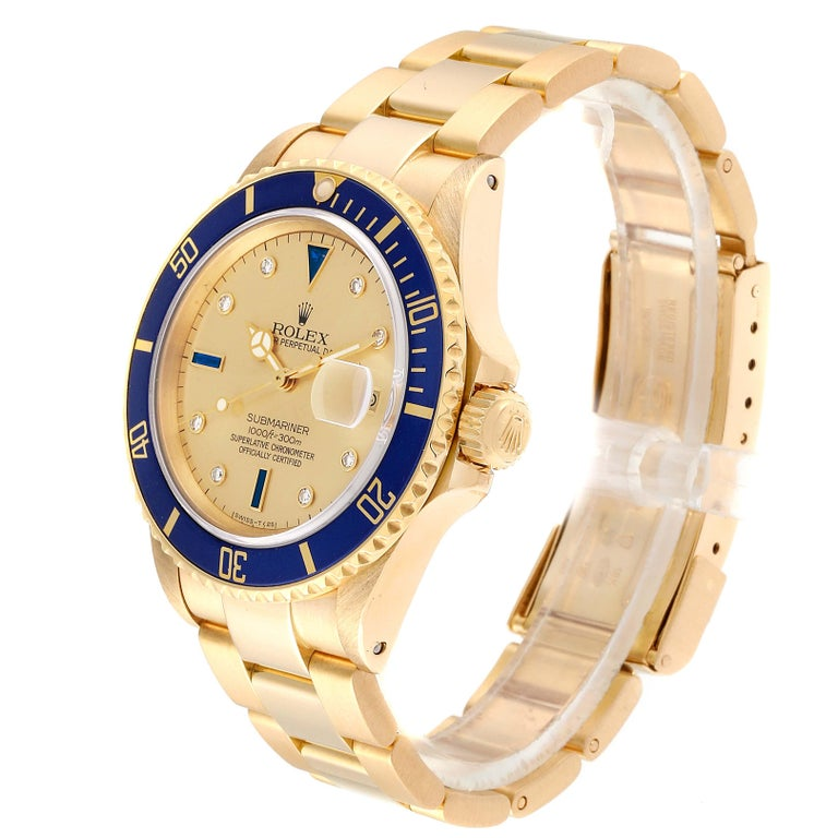 Men's Rolex Submariner Yellow Gold Diamond Sapphire Serti Dial Watch 16808 For Sale