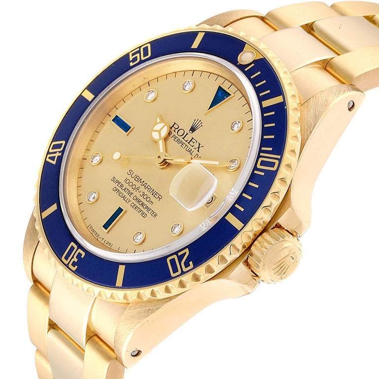 Rolex Submariner Yellow Gold Diamond Sapphire Serti Dial Watch 16808 For Sale 1