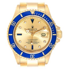 Rolex Submariner Yellow Gold Diamond Sapphire Serti Dial Watch 16808