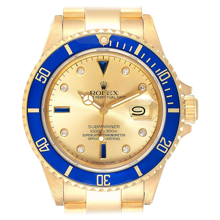 Rolex Submariner Yellow Gold Diamond Sapphire Serti Dial Watch 16808 For Sale