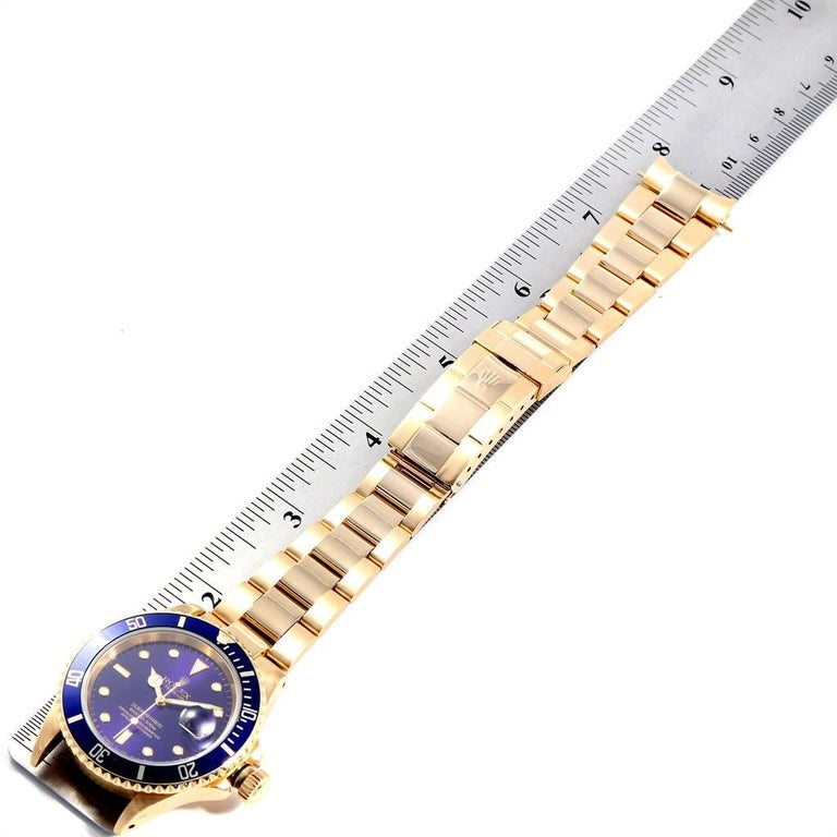 Rolex Submariner Yellow Gold Purple Dial Men's Watch 16618 For Sale 7