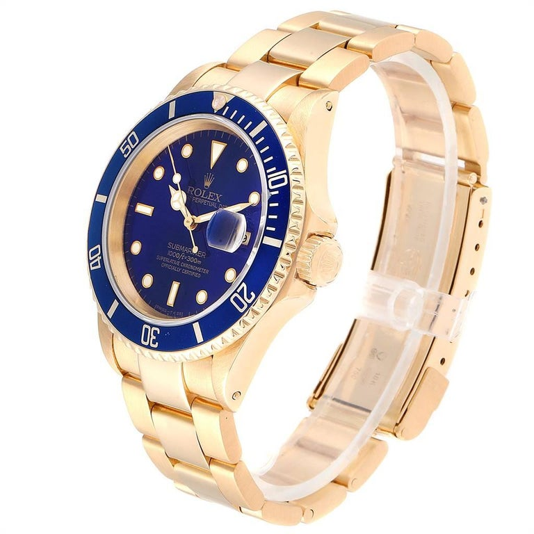 Rolex Submariner Yellow Gold Purple Dial Men's Watch 16618 For Sale 1