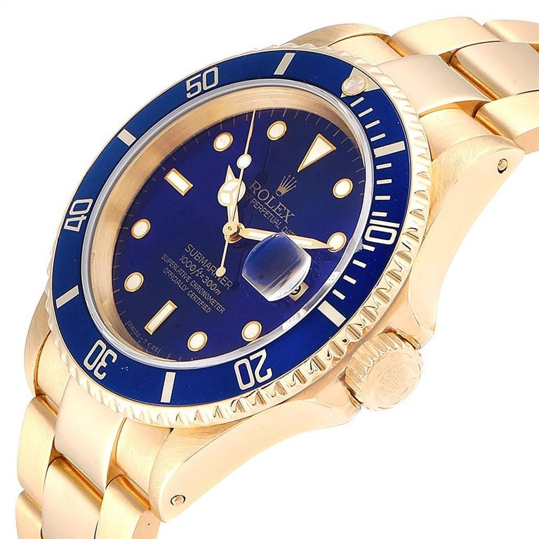 Rolex Submariner Yellow Gold Purple Dial Men's Watch 16618 For Sale 2