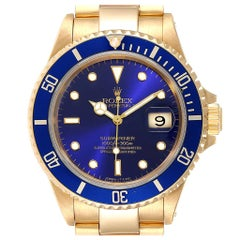 Rolex Submariner Yellow Gold Purple Dial Men's Watch 16618