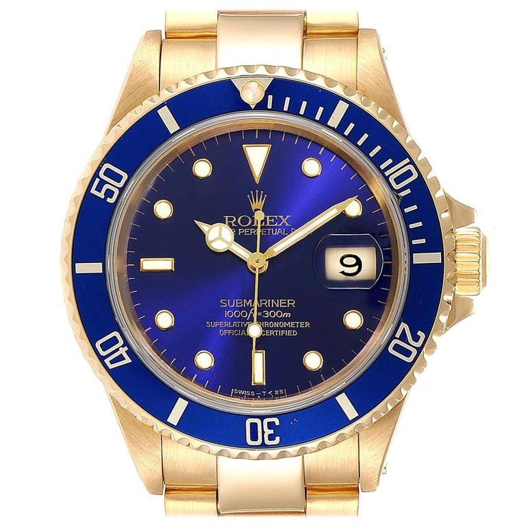 Rolex Submariner Yellow Gold Purple Dial Men's Watch 16618 For Sale