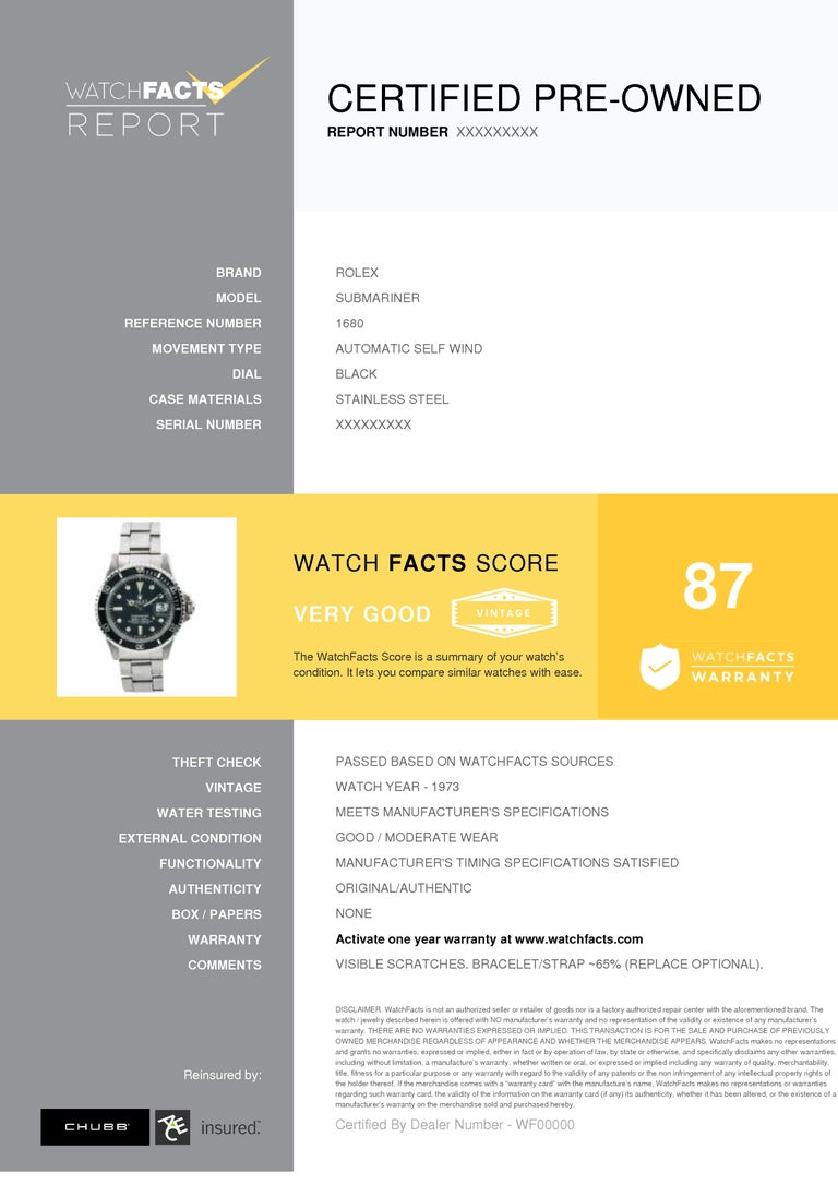 Rolex Submariner Reference #:1680. Rolex Submariner 1680 Mark I Mens Automatic Vintage Watch White Dial SS 40mm. Verified and Certified by WatchFacts. 1 year warranty offered by WatchFacts.