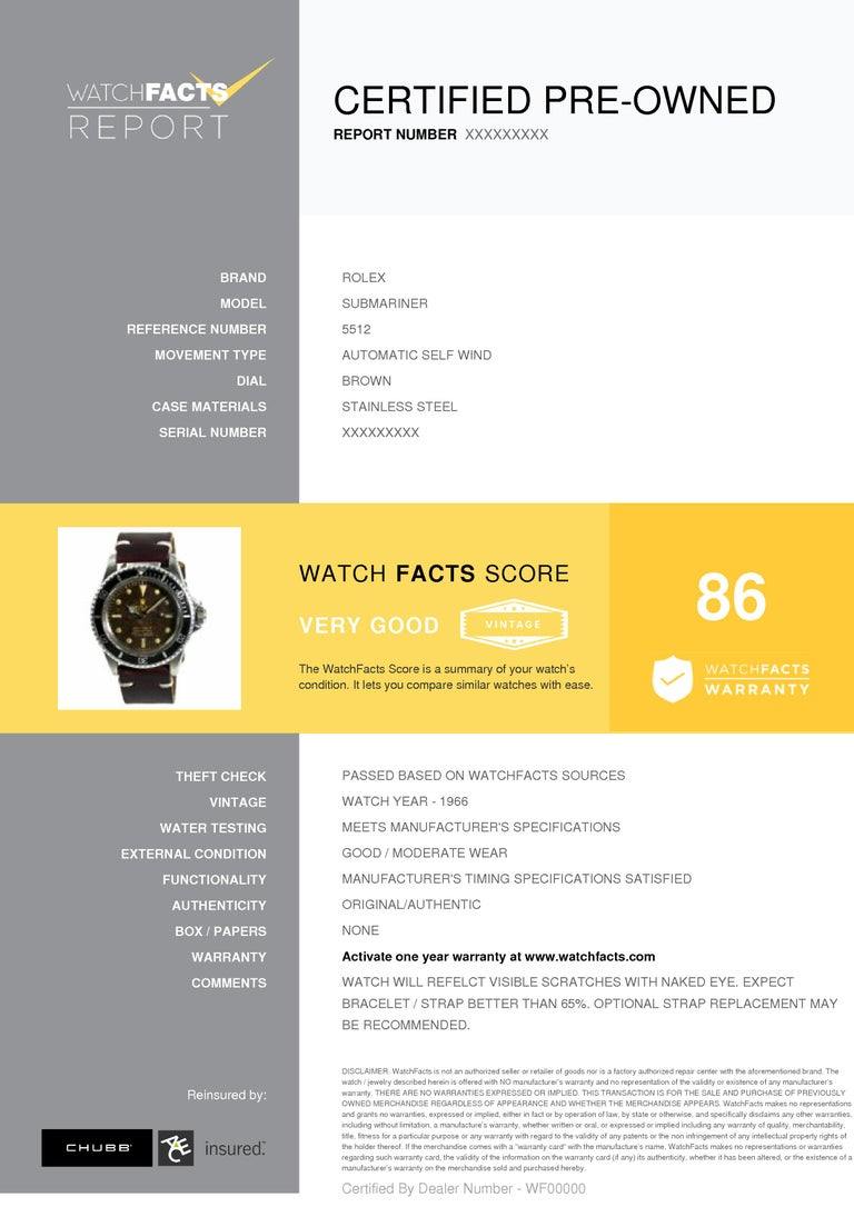 Rolex Submariner Reference #:5512. Rolex Submariner 5512 Mens Automatic Vintage Watch Tropical Gilt Dial 40mm. Verified and Certified by WatchFacts. 1 year warranty offered by WatchFacts.