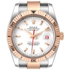 Rolex Turnograph Datejust Steel 18K Rose Gold Mens Watch 116261 Box Papers