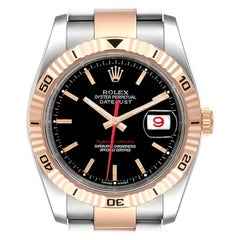 Rolex Turnograph Datejust Steel Rose Gold Black Dial Mens Watch 116261