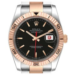 Rolex Turnograph Datejust Steel Rose Gold Black Dial Watch 116261 Box Papers