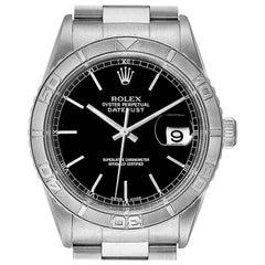 Rolex Turnograph Datejust Steel White Gold Black Dial Men's Watch 16264