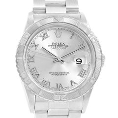 Rolex Turnograph Datejust Steel White Gold Silver Dial Men's Watch 16264