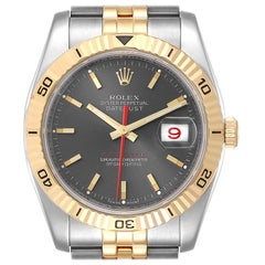 Rolex Turnograph Datejust Steel Yellow Gold Slate Dial Watch 116263 Box Card