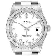 Rolex Turnograph Datejust White Gold Steel Men's Watch 16264 Box Papers