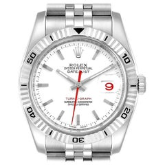 Rolex Turnograph Steel White Gold Bezel Men's Watch 116264 Box Papers