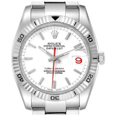 Rolex Turnograph Steel White Gold Bezel Men's Watch 116264 Box Papers