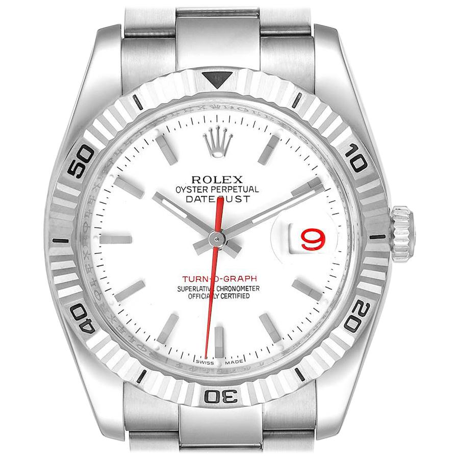 Rolex Turnograph Steel White Gold Bezel White Dial Men's Watch 116264