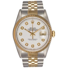 Rolex Two-Tone 18 Karat Gold and Stainless Steel Datejust 168233 Diamond Dial
