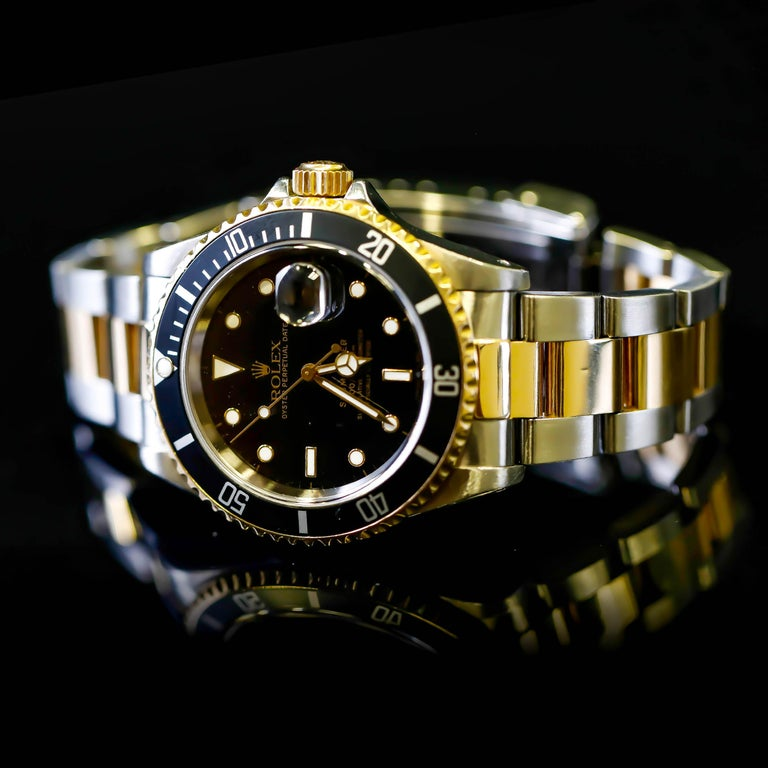 Rolex Two-Tone Black Ceramic Submariner 18 Karat Gold and Stainless Steel For Sale 5