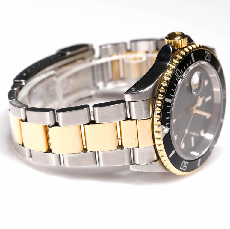 Contemporary Rolex Two-Tone Black Ceramic Submariner 18 Karat Gold and Stainless Steel For Sale