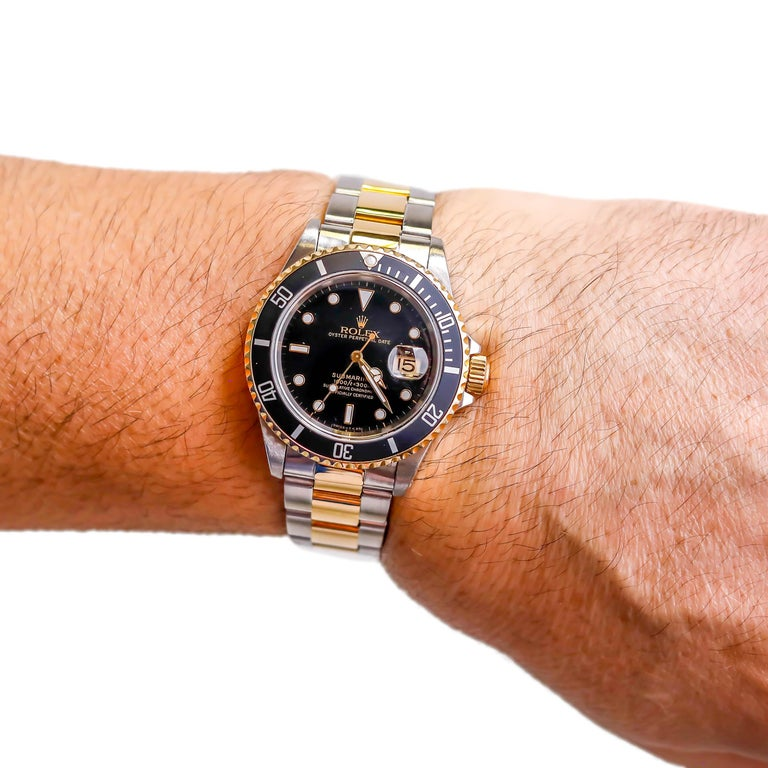 Women's or Men's Rolex Two-Tone Black Ceramic Submariner 18 Karat Gold and Stainless Steel For Sale