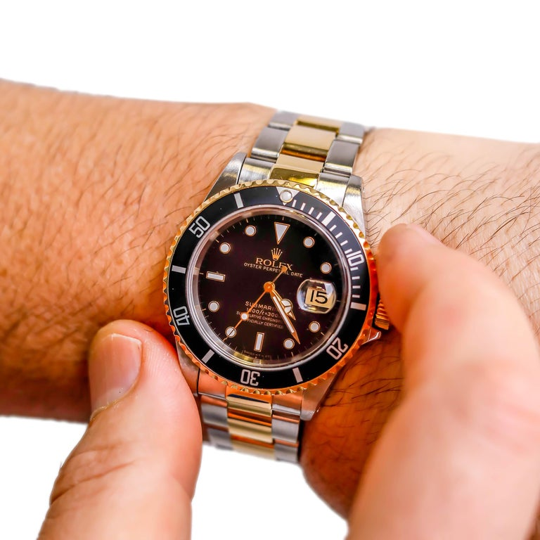 Rolex Two-Tone Black Ceramic Submariner 18 Karat Gold and Stainless Steel For Sale 1