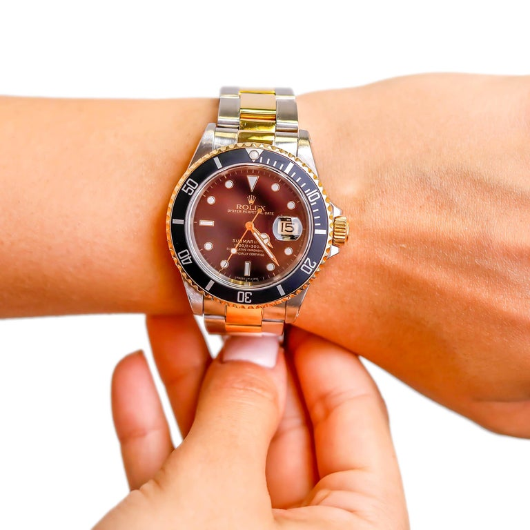 Rolex Two-Tone Black Ceramic Submariner 18 Karat Gold and Stainless Steel For Sale 2