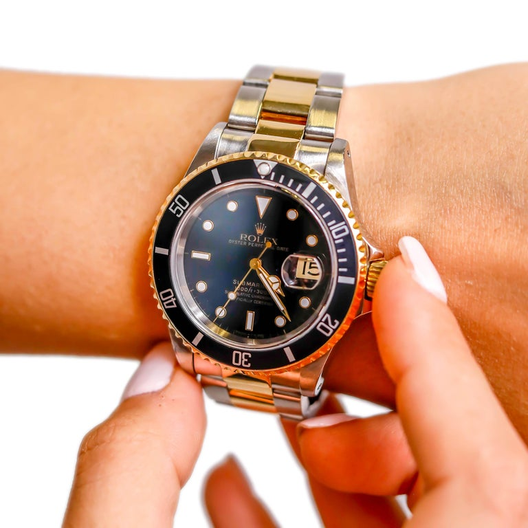 Rolex Two-Tone Black Ceramic Submariner 18 Karat Gold and Stainless Steel For Sale 3