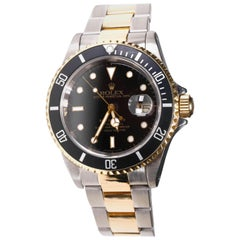 Rolex Two-Tone Black Ceramic Submariner 18 Karat Gold and Stainless Steel