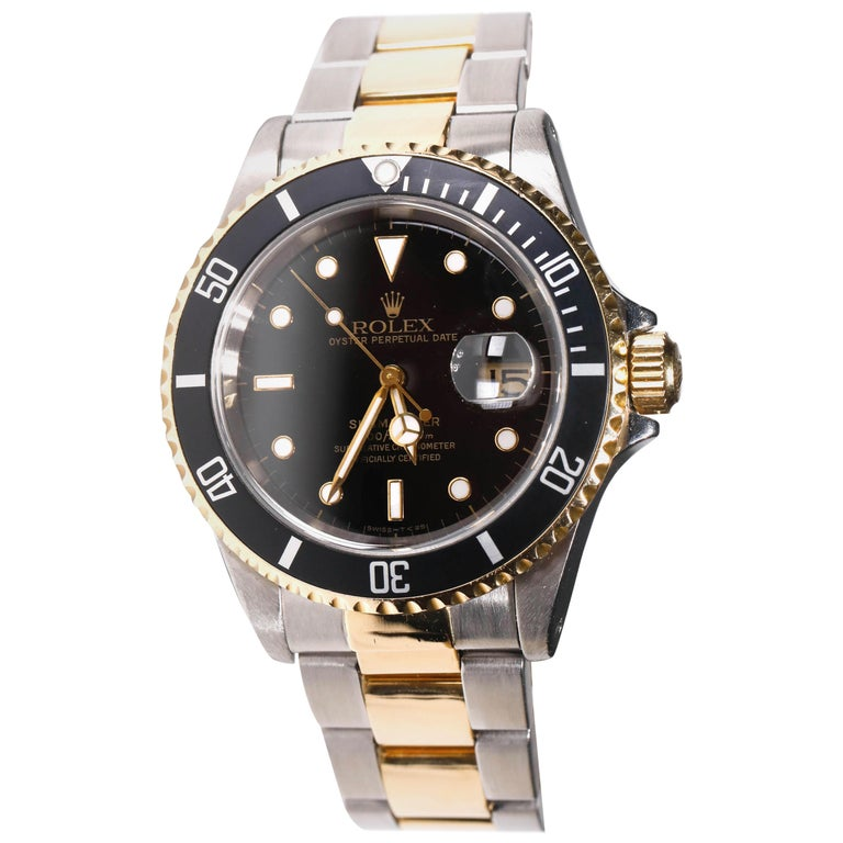 Rolex Two-Tone Black Ceramic Submariner 18 Karat Gold and Stainless Steel For Sale