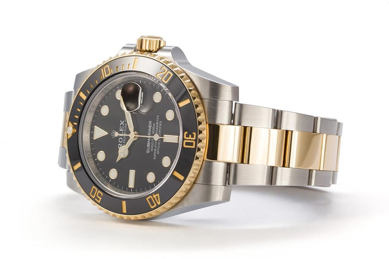 Contemporary Rolex Two-Tone Black Ceramic Submariner 18 Karat Gold and Stainless Steel 116613 For Sale