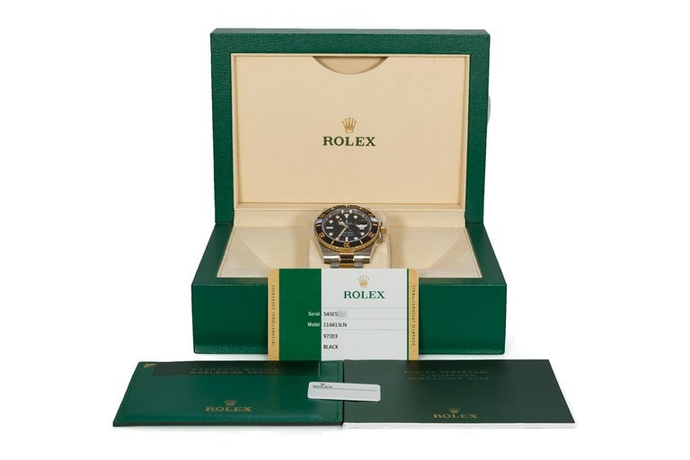 Rolex Two-Tone Black Ceramic Submariner 18 Karat Gold and Stainless Steel 116613 For Sale 3