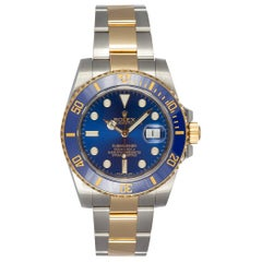Rolex Two Tone Blue Ceramic Submariner 18k Gold & Stainless Steel 116613 BNP