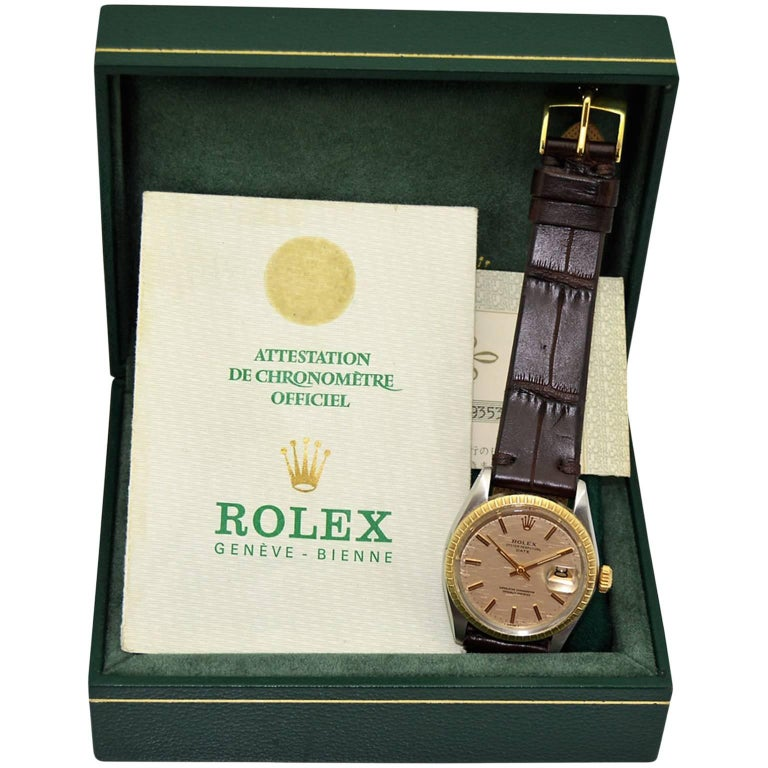Rolex Two-Tone Date with Box and Original Papers, circa 1971 For Sale