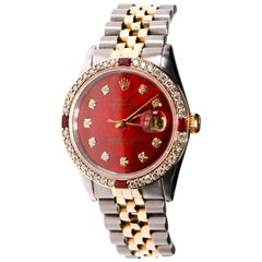 Rolex Two-Tone Datejust Men's 1978, Automatic Diamond Ruby Dial 18 Karat Gold